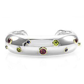 Tiffany & Co. Etoile Sterling Silver & 18K Yellow Gold Multi Gemstone Cuff Bracelet