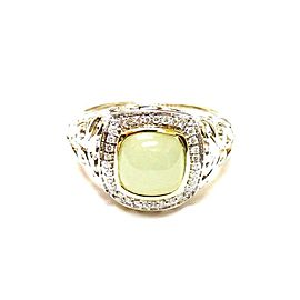 Charles Krypell 925 Sterling Silver & 18K Yellow Gold Lime Onyx & Diamond Ring Size 6.75