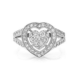 14K White Gold Pave 0.94ct. Diamond Halo Heart Ring Size 6.75