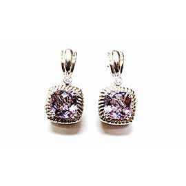 Charles Krypell .925 Sterling Silver & 14K White Gold Amethyst & Diamond Earrings