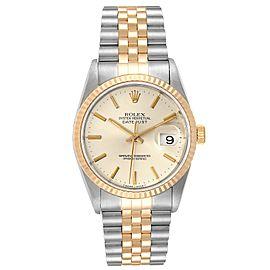 Rolex Datejust Steel Yellow Gold Silver Dial Mens Watch 16233