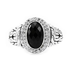 John Hardy 925 Sterling Silver with Onyx and 0.27ct Diamond Ring Size 6.5
