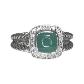David Yurman Petite Albion Sterling Silver Green Onyx Pave Diamond Ring Size 6