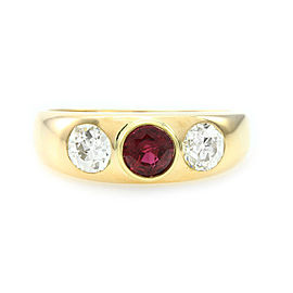 18K Yellow Gold Burmese Ruby and Diamond Ring Size 9.25