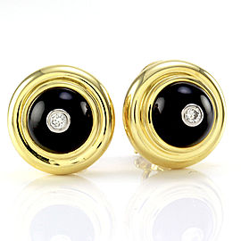 Tiffany & Co. Paloma Picasso 18K Yellow Gold with Black Onyx and 0.11ct Diamond Earrings