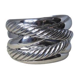 David Yurman 925 Sterling Silver Crossover Cable Cuff Bracelet