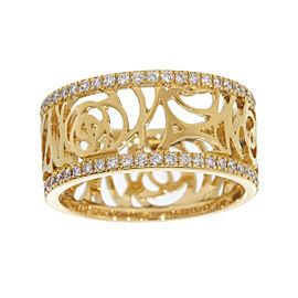 Chanel Camellia 18K Yellow Gold Diamonds Band Ring Size 5.5