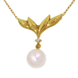 Mikimoto 18K Yellow Gold Pearl & Diamond Pendant Necklace