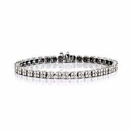 14K White Gold 5.00ctw. Diamond Cluster Link Tennis Bracelet