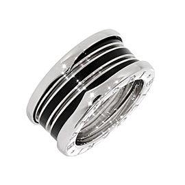 Bulgari 18K White Gold & Black Ceramic B.zero1 3-Band Ring Size 5.25