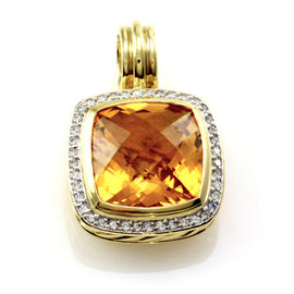 David Yurman 18K Yellow Gold Cirtine & Pavé Diamond Albion Pendant Enhancer
