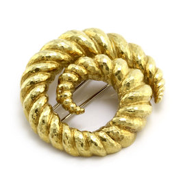 David Webb 18K Yellow Gold Swirl Brooch