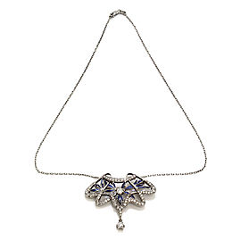 Nouveau 1910 Arctic Ensueno Diamond and Enamel Brooch Pendant Necklace 18KW Gold