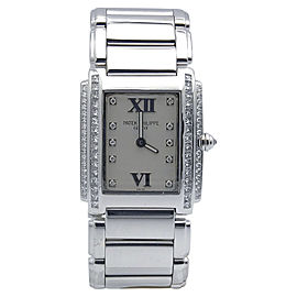 Patek Philippe Twenty-4 4910-G/001 18K White Gold & Diamonds Quartz 22mm Womens Watch
