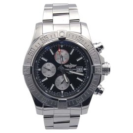 Breitling Super Avenger A13371 Stainless Steel & Black Dial 48mm Mens Watch