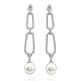 18K White Gold Sea Pearl & Pavé Diamond Milgrain Drop Dangle Earrings