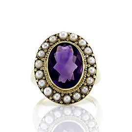 14K Yellow Gold Amethyst and Pearl Halo Ring Size 6