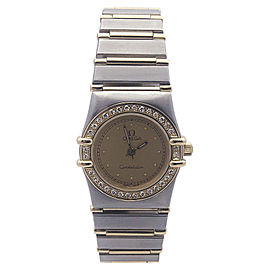 Omega Constellation Two Tone Stainless Steel and Yellow Gold with Diamond Bezel Quartz 23mm Womens Watch
