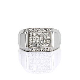 18K White Gold Invisible Set Princess 2.37ctw. Diamond Ring Size 10.75