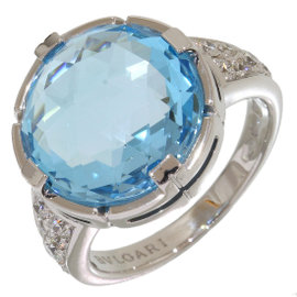 Bulgari Parentesi 18K White Gold Diamonds & Blue Topaz Ring Size 5.75