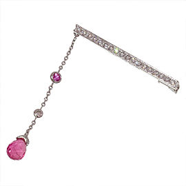 Chaumet 18K White Gold Diamonds & Pink Tourmaline Pin Brooch