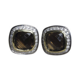 David Yurman Petite Albion 925 Sterling Silver and 14K Yellow Gold with Quartz and Diamond Earrings