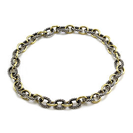 David Yurman Sterling Silver and 18K Yellow Gold Oval Link Necklace