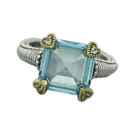 Judith Ripka 18K Yellow Gold & 925 Sterling Silver Aquamarine and CZ Ring Size 7