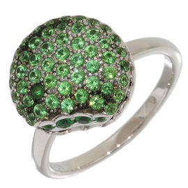Boucheron 18K White Gold with Tsavorite and Diamond Ring Size 5