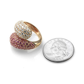 Leo Pizzo Rose Gold Sapphire, Diamond Mens Brooch
