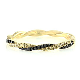 Hidalgo 18K Yellow Gold Black and Yellow Diamond Twisted Ring Size 6.25