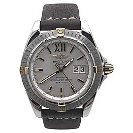 Breitling Wind Rider Cockpit B49350 Stainless Steel Leather Strap Silver Dial 41mm Mens Watch