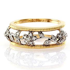 Hidalgo 18K White & Yellow Gold Diamond Flower Ring Size 6.5