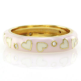 Hidalgo 18K Yellow Gold Diamond and Enamel Hearts Eternity Band Ring Size 6.25