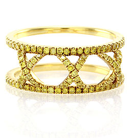 Hidalgo 18K Yellow Gold with Yellow Diamonds X Ring Size 6.75
