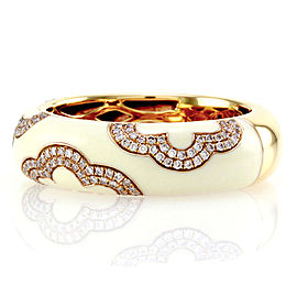 Hidalgo 18K Rose Gold & Enamel with Diamond Band Ring Size 6.25