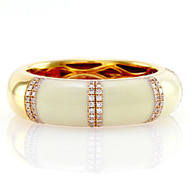 Hidalgo 18K Rose Gold & White Enamel with Diamond Band Ring Size 6.25