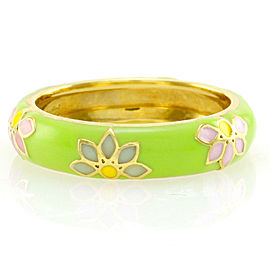 Hidalgo 18K Yellow Gold & Lime Green Enamel Flowers Eternity Band Ring Size 6.5