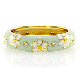 Hidalgo 18K Yellow Gold & Green Enamel with Diamonds Flower Eternity Band Ring Size 6.25