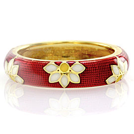 Hidalgo 18K Yellow Gold & Red Enamel Daisy Eternity Band Ring Size 6.25