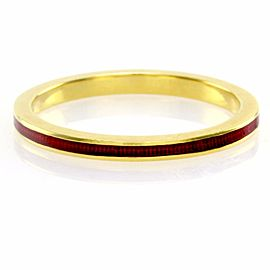 Hidalgo 18K Yellow Gold & Red Enamel Stackable Eternity Band Ring Size 6.25