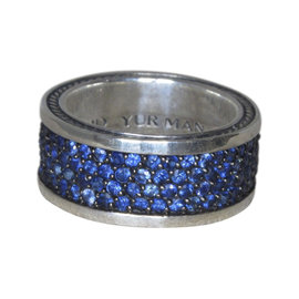 David Yurman 925 Sterling Silver with Sapphire Band Ring Size 9.5