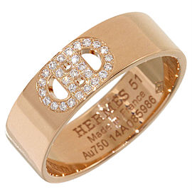 Hermes Eclipse 18K Rose Gold Diamonds Ring Size 5.75