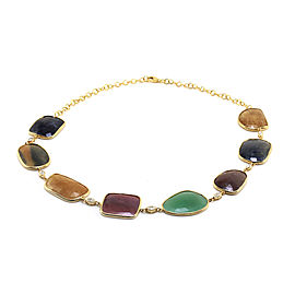 14k Yellow Gold Multi-Color Sapphire and Diamond Necklace