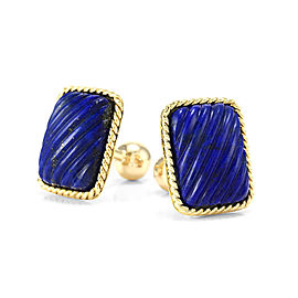 Tiffany & Co. 18K Yellow Gold & Lapis Lapis Cufflinks