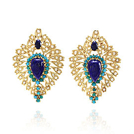 22K Yellow Gold Lapis Turquoise and Seed Pearl Earrings
