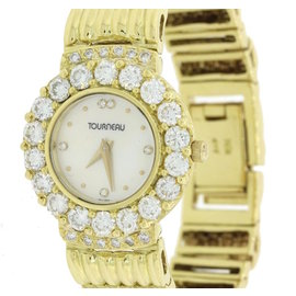 Tourneau 18K Yellow Gold Diamond Mother Of Pearl Quartz 24mm Womens Watch