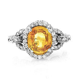 14K White Gold Yellow Sapphire and Pave Diamond Ring Size 5.75