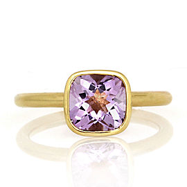 18K Yellow Gold Amethyst Stackable Ring Size 8.75