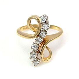 14k Yellow Gold & Diamond Bypass Ring Size 3